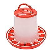 Alimentador de comida de plástico Gallina casera de gallina Comedero de aves de corral con tapa Manija Cubo Perros Gatos Dispensador de tazón de comida Raza de mascota # BL1, Rojo, Estados Unidos