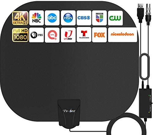 TS-ant Antena de TV Interior, Oval Negro Antena de TV Digita