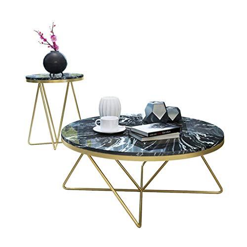 N/Z Living Equipment Mesa de Centro Redonda de imitación de mármol/Mesa Auxiliar Juego de 2 mesas de té Muebles adecuados para Sala de Estar, Oficina, Dormitorio, mesita de Noche