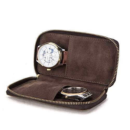 Hiram Reloj pulsera bolsa de almacenamiento estuche de cuero de 2 piezas, reloj de viaje portátil estuche de cuero genuino, estuche de reloj de cuero para pareja relojes de 2 piezas