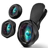 スマホ用カメラレンズ クリップ式レンズ 広角レンズ 魚眼レンズ マクロレンズ 自撮りレンズ カメラレンズキット-Luxsure 2020 簡単装着 3in1