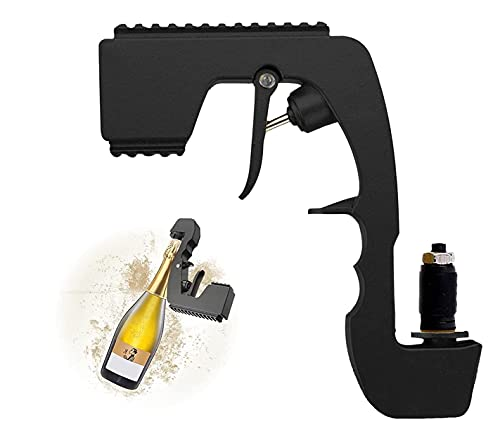 Dispensador de vino de fuente, pistola de champán Bubbly Blaster pulverizador, tapón de vino ajustable para ceremonias de boda, cumpleaños, botella de alimentación de Eyector de cerveza (negro)
