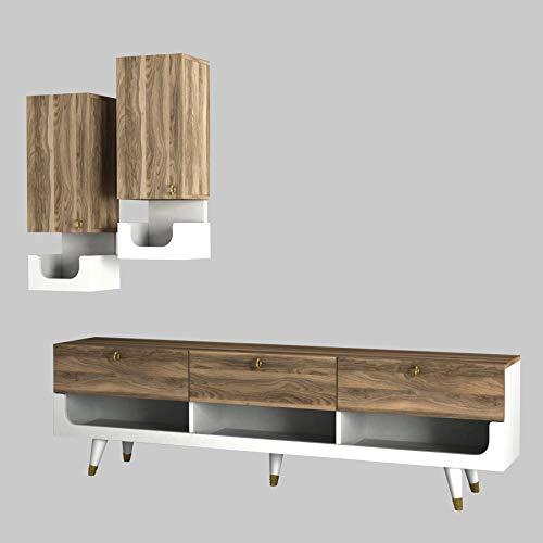 Alphamoebel 4319 Pretty Wohnwand Anbauwand TV Lowboard Wohnzimmerschrank,Weiß Walnuss, Holz, mit 2 Hängeschränke, viel Stauraum, 181 x 51,8 x 31,3 cm