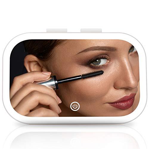 Fancii Espejo Maquillaje Recargable para Visera de Coche con Luz LED y 3 Modos Iluminación - Luz Táctil Regulable, Espejo Portátil con Clip Ajustable, Soporte Integrado para Uso en Mesa (Juni)