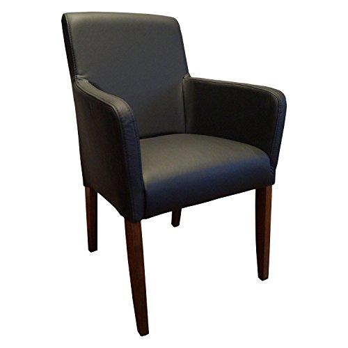 Quattro Meble Schwarz Echtleder Esszimmerstühle Massivholz Stühle David Arm Lederstühle Sessel mit Armlehnen Echt Leder Esszimmer Stuhl