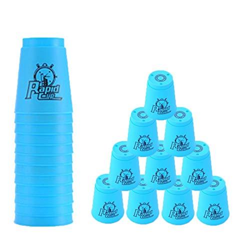 Quick Stacks Cups 12er Pack Sport-Stapelbecher Speed-Trainingsspiel Challenge Competition Party-Spielzeug mit Tragetasche (Blau)