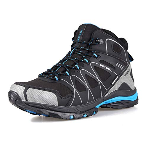 GRITION Mens Walking Boots Waterproof Running Hiking Boots Slip Resistance Outdoor Lightweight Lace Up Trainers Ankle Protection Winter Warm Breathable Shoes (10 US/ 43 EU, BLACK/Blue)
