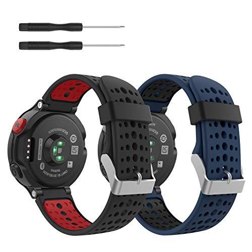 MoKo [2 pezzi] Cinturino Compatibile con Forerunner 235, Morbido Bracciale di Ricambio in Silicone Compatibile con Forerunner 220/230/235/620/630/735 Smart Watch, Nero+Rosso & Blu Notte+Nero