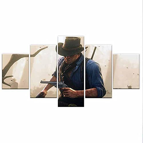 5 Panel Canvas Printed Game Red Dead Redemption 2 Arthur Morgan Poster Home Decorative Living Room Picture Wall Painting
