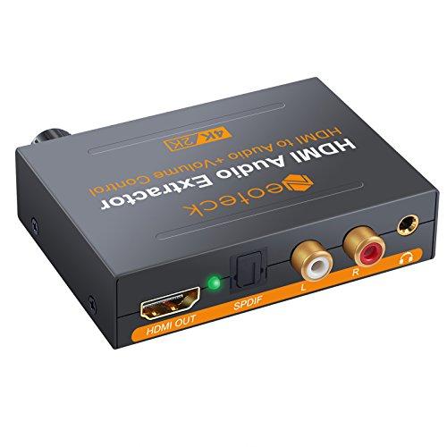 Neoteck 4K*2K HDMI Audio Extractor HDMI Digitale a HDMI+Ottico SPDIF Toslink+Stereo L/R RAC+3.5mm Jack Audio Convertitore con Controllo Volume Supporta 5.1CH e Collegamento a 3 Dispositivi