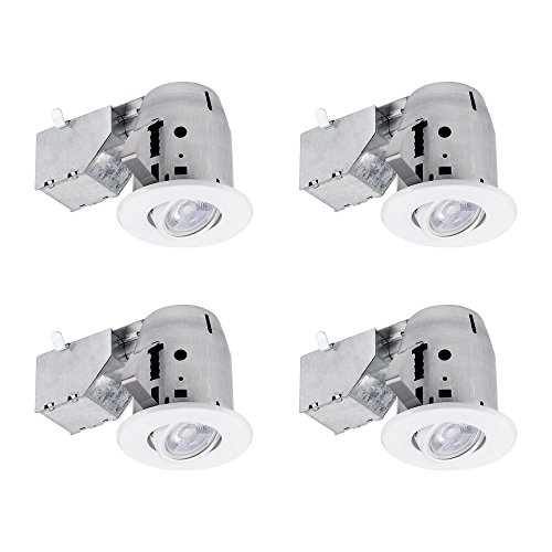 "Globe Electric 3"" LED IC Rated Swivel Spotlight Recessed Lighting Kit Dimmable Downlight, 4-Pack, White Finish, Easy Install Push-N-Click Clips, 4 LED Bulbs Included, 90718"