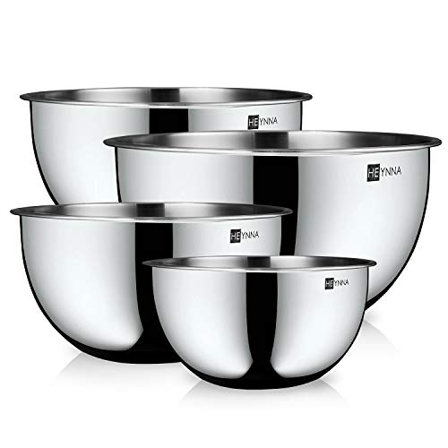 HEYNNA® 4-teiliges Rührschüssel / Salatschüssel Set aus Edelstahl – Schüsselset mit Markierungen / Schüsseln für die Küche stapelbar & spülmaschinenfest 2,0 l-4,5 l