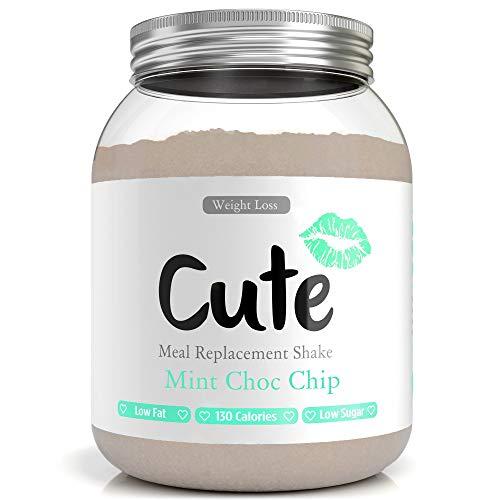 CUTE NUTRITION® Diät-Shake zum Abnehmen + Energy Boost | 500g | Mahlzeitenersatz Shake Mint Chocolate Chips inkl. Trainingsplan | Protein-Pulver Low Carb | Eiweißpulver GVO-frei