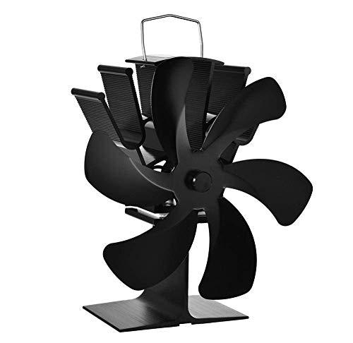WYJW Ventilador de Chimenea Negro Ventilador de Estufa con energía térmica de 6 aspas Quemador de leña Respetuoso con el Medio Ambiente Ventilador silencioso Distribución eficiente del