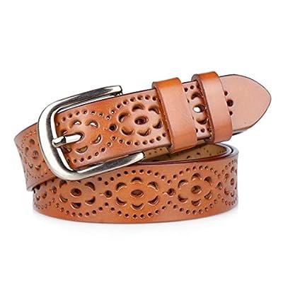 Gackoko Women belt - Hollow Flower Cowhide Leather Belt Ladies Vintage Cowgirl Western Design With Alloy Buckle (S, Brown)