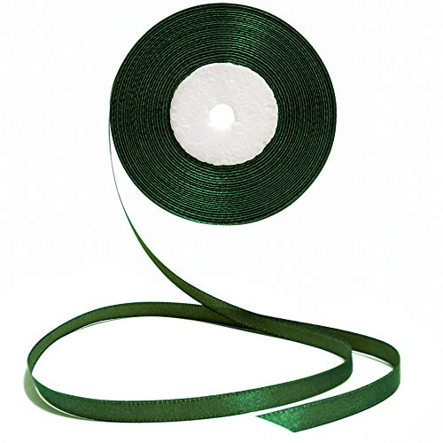 Dark Green Ribbon 1/4 Inches 36 Yards Satin Roll Perfect for Scrapbooking, Art, Wedding, Wreath, Baby Shower, Packing Birthday, Wrapping Christmas Gifts