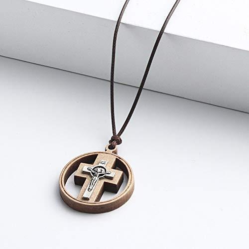 Naswi Crucifijo Católico Jesús Cruz Collares para Hombres Mujeres Círculo Redondo De Madera Colgante Collar Cadenas De Cuerda Religiosa Collier Joyería