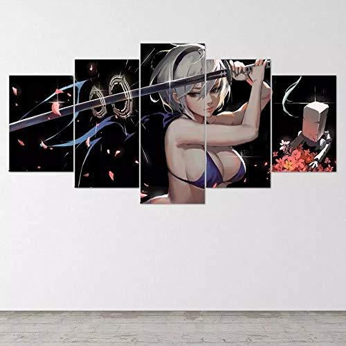 YOPLLL Cuadros De Lienzo Decoración para El Hogar 5 Piezas Paintings Wall Art Prints Modern Poster Modular Bed Background Póster De Juego De Anime Sexy Bikini Girl Katana Figura(Sin Marco)