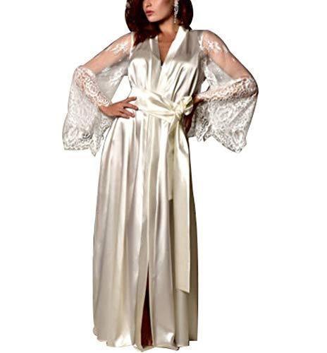 Kimono de satén para mujer, bata de baño con ribete de encaje, manga larga, camisón suelto