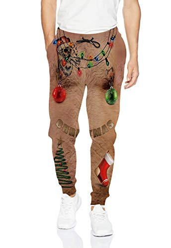 uideazone Youth Men's Ugly Christmas Pants Cool Sweatpants Chest Hair Funny Jogging Pants Sports Trousers for Party Festival