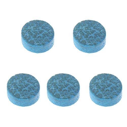 MagiDeal 5Piezas/Set 10mm Piel Blue Diamond Glue-ON Snooker Piscina Billar Cue Tips