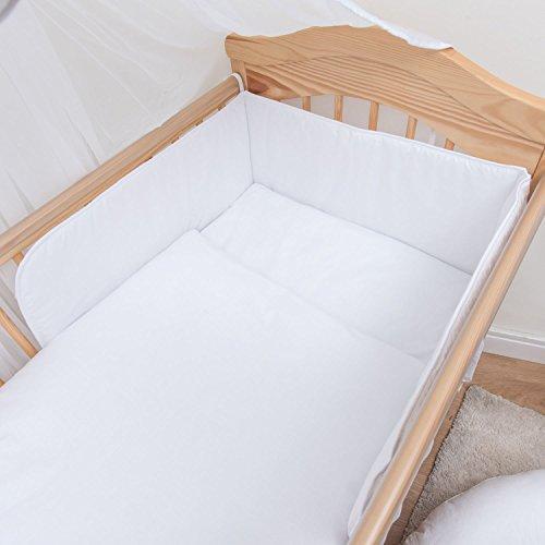 Baby Comfort 3 pièces Chambre Parure de lit pour lit bébé 140x70 cm - Blanc