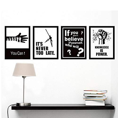 Motivation Poster Wandaufkleber Unternehmen Schwarz-Weiß-Tapete Büro Klassenzimmer Wanddekoration Unternehmenskultur Wandbild