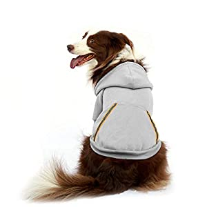 Dog Hoodie Fleece Sweatshirt for Small Medium Large Extra Small XL Dogs Charcoal Gray Pink Red Purple with Harness Hole and Reflective Stripe Zipper Pullover Dogs Hooded Warm Jacket (XL, Gray)