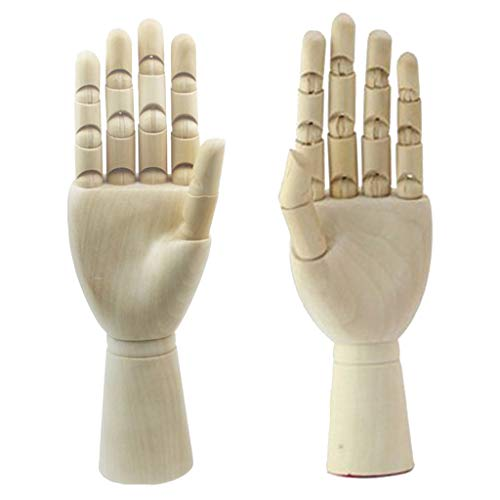 1 Paar 18cm Gliederhand - Modellhand aus Holz - Flexible Linke & Rechte Holzhand - Mannequin Dekohand Modell