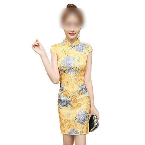 F-pump Vestido de satn para mujer, estilo chino, estilo cheongsam, manga corta, seda, talla 4XL