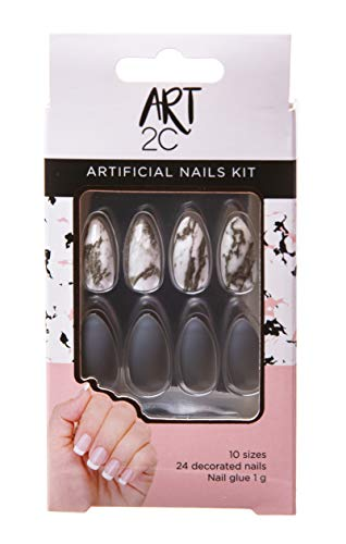 Art 2C - künstliches Nagelset, mit Kleber, passende Form, problemlos entfernbar, 24 dekorierte Nägel, 10 Größen - 043