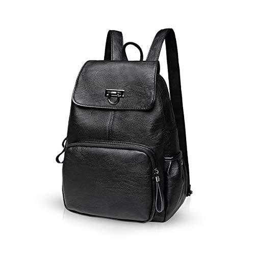 NICOLE & DORIS Damen Lederrucksack Lässiger Damenrucksack für Damen Rucksackbeutel für Damen schwarz