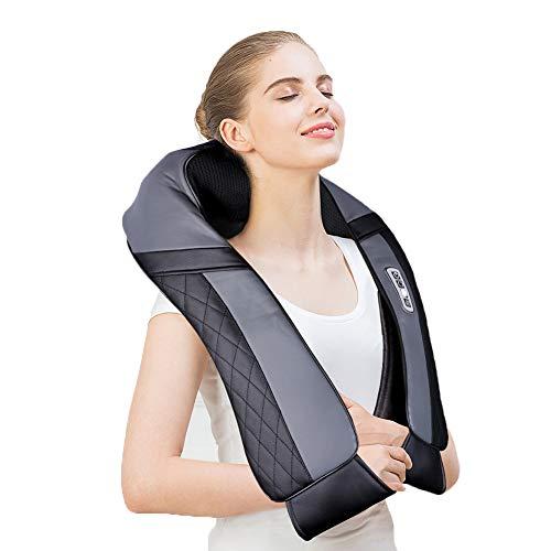 ICETEK Massagegerät für Schulter Rücken Nacken Shiatsu mit Wärmefunktion Nackenmassagegerät Tiefknetendes Elektrisches Massagekissen 16 Massageköpfe Geschenke Frauen Männer Büro Auto Zuhause