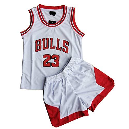 Daoseng Kinder Junge Herren Michael Jordan # 23 Chicago Bulls Retro Basketball Shorts Sommer Trikots Basketballuniform Top & Shorts Basketball Anzug (Weiß, 3XS/Kind Höhe 75-90CM)