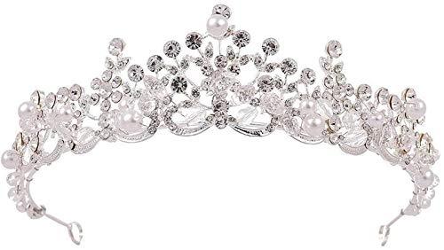 KEEBON Mujeres Nupcial Corona Rhinestone Perla Cristal Pelo Novia Princesa Boda Diadema Corona para la joyería de Cabello de Boda, Color: Pulseras de Plata Pendientes Collares