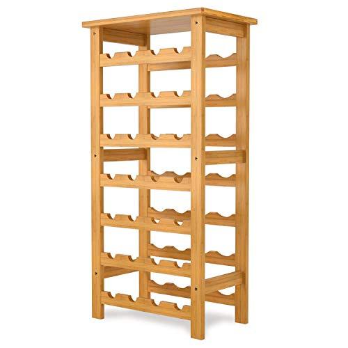 LJCLYB Cremagliera del Vino Homfa Wine Rack 28 Portabottiglie Portabottiglie 7 Tier Wine Scaffalature Bamboo 47 × 29 × 94cm