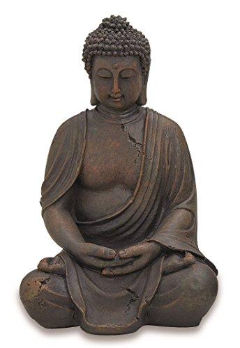Deko-Buddha sitzend, ca. 40cm hoch in Braun | Buddha-Figur für Wohnung, Haus & Garten | Buddha-Statue, Wohnaccessoire Buddha-Skulptur Feng Shui Dekoration | Garten-Figur