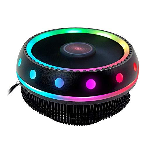 Feicuan RGB LED Ventilador de CPU Ruido bajo 3 Pin CPU Disipador de Calor para Intel AMD, Enchufe Universal Cojinete hidráulico 90W CPU Cooler