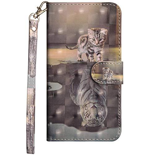 Vogu'SaNa Kompatible für Handyhülle Huawei P30 Lite Hülle Wallet Hülle Cover PU Leder Tasche 3D Mädchen Muster Flipcase Schutzhülle Handytasche Skin Ständer Klapphülle Schale Bumper Etui-Katze Tiger