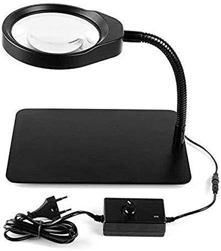 SHOP YJX Lupa Lupa de Cristal 10x Escritorio Iluminado Luces LED Ajustable Iluminación de iluminación HD Electrónica Reparación Reparación Reparación Soldadura Multi Función Espejo, Lupa Negra