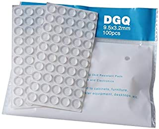 "DGQ 100Pack Clear Round Self-Adhesive Rubber Pad Silicon Bumpers 3/8"" for Home Kitchen Door Drawers Cabinet Furniture"