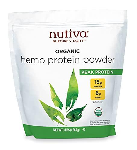 Nutiva Organic Cold-Pressed Raw Hemp Seed Protein Powder, Peak Protein, 3 Pound, USDA Organic, Non-GMO, Whole 30 Approved, Vegan, Gluten-Free & Keto, Plant Protein with Essential Amino Acids