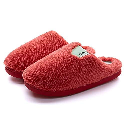 Pantuflas unisex de invierno para niños y niñas, suela antideslizante de goma, zapatillas de viaje rojas_40-41