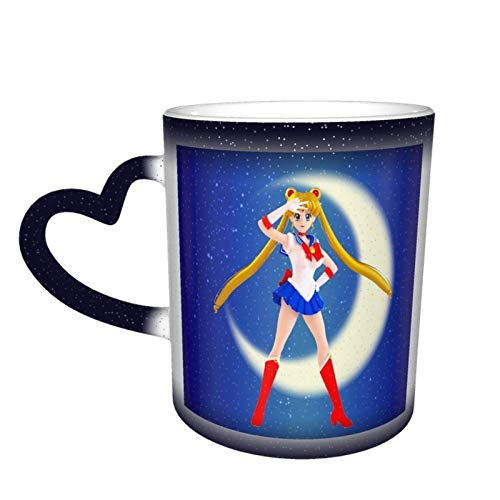 XCNGG Tazza da caffè Tazza Sail-Or Moon Tazze da tè in ceramica Tazza cambia colore nel cielo Regalo per la festa della mamma di Pasqua 11 once