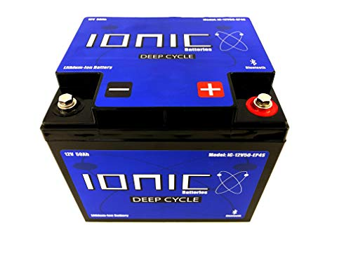 Ionic Lithium Ion Deep Cycle Battery 12V50-EP - 12V 50Ah with Built in Bluetooth monitoring - 8 Year Warranty - Great for Bass Boats, Trolling Motors, Lift Gates, Floor Sweepers, and more