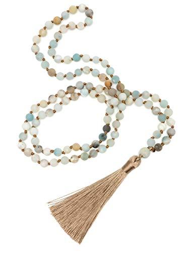 BENAVA Damen Halskette aus Amazonit Perlen Kette mit Quaste Matt Bunt Gold Lang 80cm