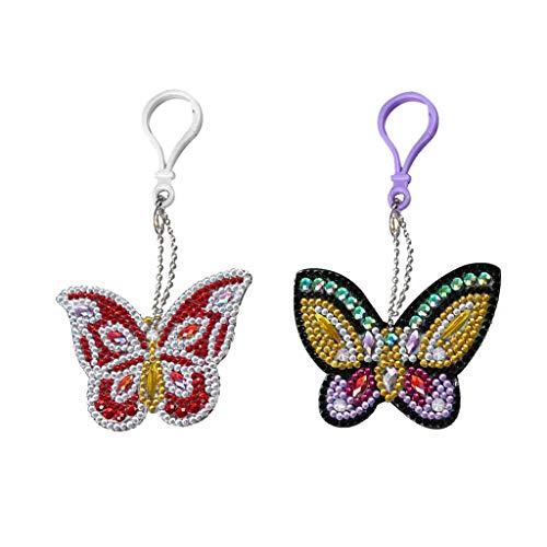 Baoblaze 2x DIY Diamond Painting Key Chain Butterfly, Diamond Painting Full Drill Keyring Keychain For Bag Handbag Phone Pendant
