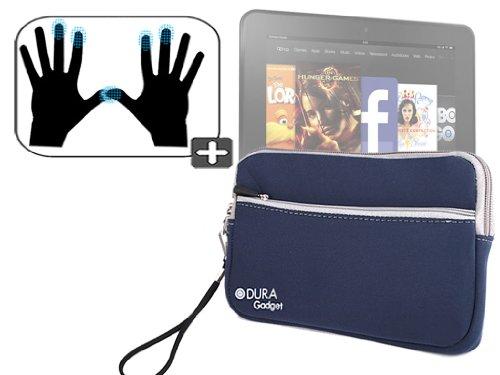 """DURAGADGET Housse étui résistant en néoprène Bleu + Gants capacitifs conducteurs Taille S (Petit) pour Nouvelle Tablette Kindle Fire 7"""" et Fire HD d'A"""