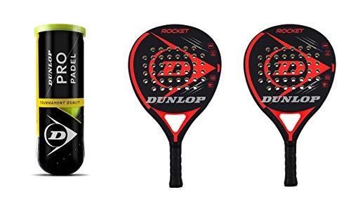 Dunlop Padel Schläger Set Rocket Red + 3 Dunlop Pro Bälle