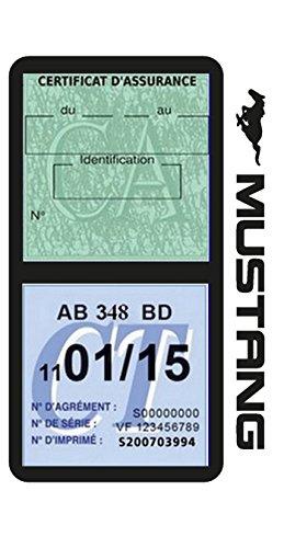 Générique Étui Vignette Assurance Voiture américaine Compatible avec Mustang Noir Double Pochette adhésif Stickers Auto rétro